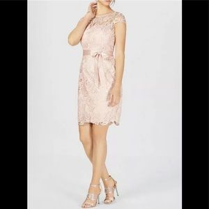 Adrianna Papell embroidered dress champagne 4 S